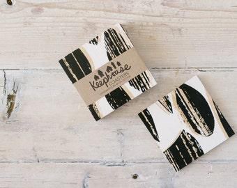 Wood Coasters - Scandinavian Modern Drops Pattern in Black and White on Birch - Set of 4