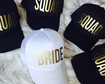 1 Bride/4 Squad Bachelorette hats