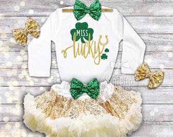 Miss Lucky St. Patricks Day Outfit Girls St. Pattys Day Shirt Baby Girl St. Patricks Day Shirt Outfit: Shirt, Skirt, Headband, Newborn-6T