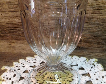 Vintage Clear Glass Goblet, Footed, Vase.