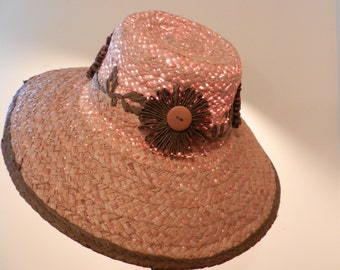 Vintage Natural Straw Hat - Costume for actor's, stage or screen.