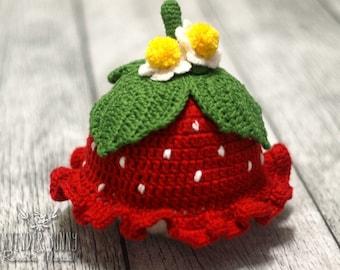crochet hat strawberry newborn photo props