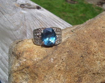 London blue topaz and sterling ring size 10