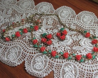 Vintage Celluloid Coral Rose Necklace, Bracelet and Earring Set