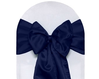 Navy Blue Satin Chair Sashes (Pack of 10) | Wedding Chair Sashes