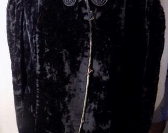 Victorian Black Velvet Jacket with cording