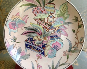 Gorgeous Pastel Chinese Plate with Pagoda