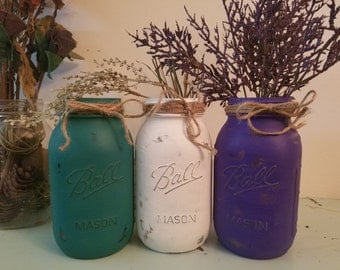 Distressed Purple, teal, and White Mason Jar, Painted Mason Jar, Wedding, Baby Shower