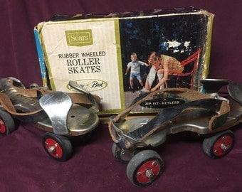 Vintage Roller Skates - Sears Zip Fit Keyless Roller Skates