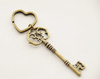 Housewarming Gift New House Keychain First House Keyring Antique Skeleton Key Ring Heart Key Chain Victorian Key Ring Brass Gift Valentine