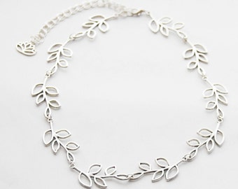 Silver Necklaces Silver Leaves Necklace Laurel Necklace Silver Leaf Necklace Silver Leaf Branch Necklace Everyday Necklace Woodland Jewelry