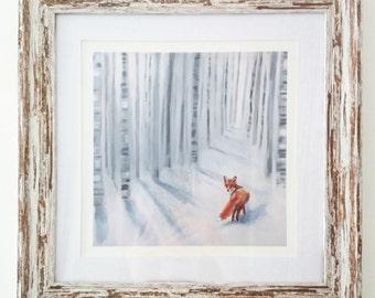 Framed Fox in the Snow print