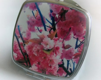 Custom-made - Retro - Vintage Style Inspired -  Cherry Blossom - Silver - Compact Mirror - Mirror