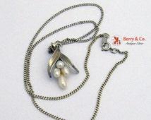SaLe! sALe! Vintage Necklace Floral Pearl Pendant 14 K White Gold Speidel