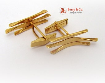 Modernist Hand Made Cufflinks 14 K Gold
