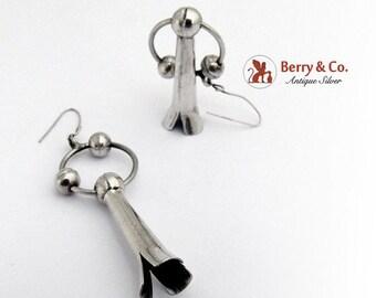 SaLe! sALe! Beaded Dangle Blossom Earrings Sterling Silver