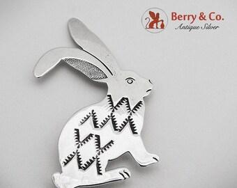 SaLe! sALe! Bunny Rabbit Figural Brooch Pin Sterling Silver 1980