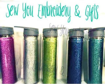 Personalized Glitter Water Bottle