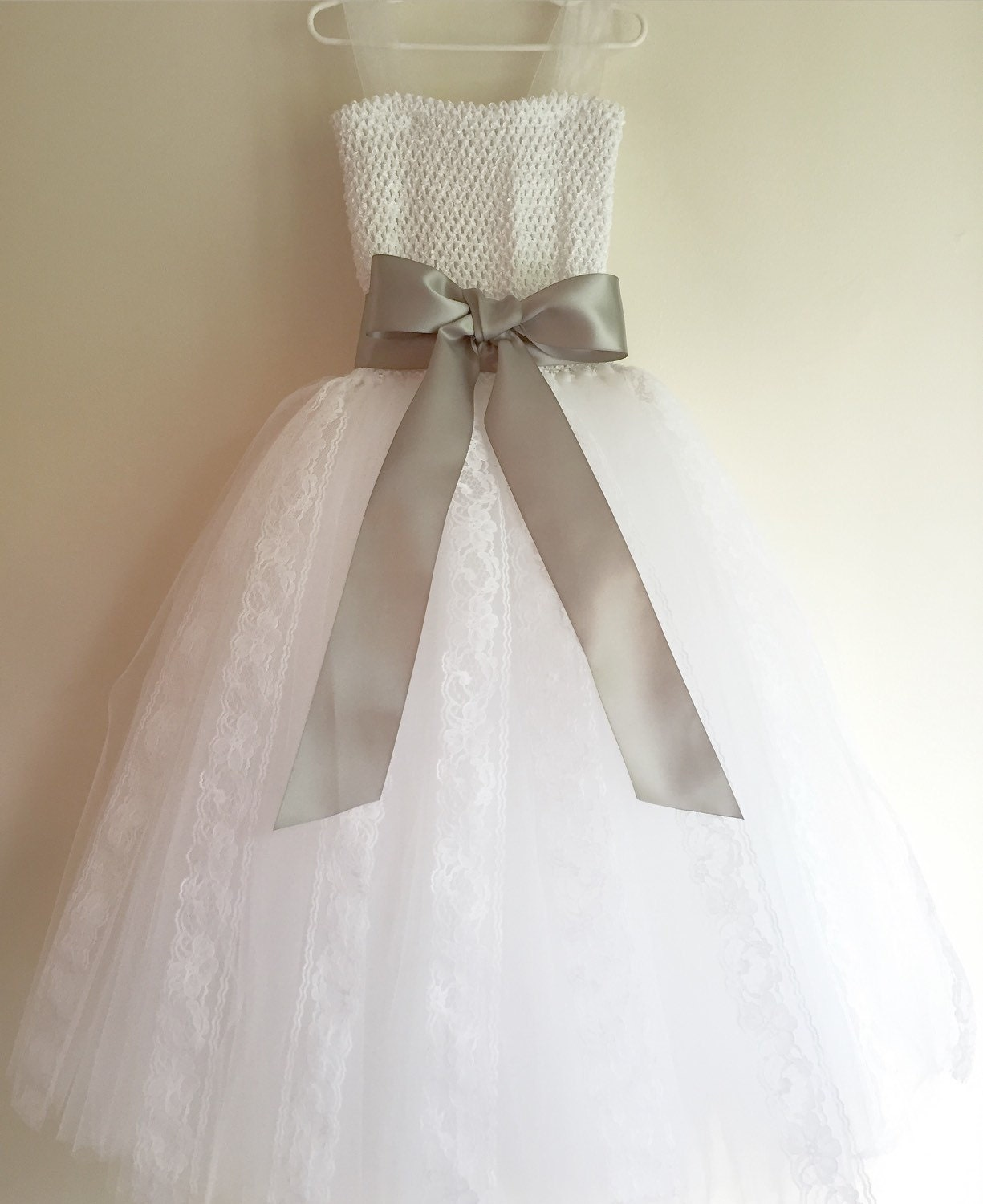 White Tulle & Lace Flower Girl Dress Lace and Tulle White