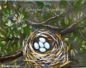 Original Still Life Canvas Painting Bird Nest Eggs Leafy Tree Branches