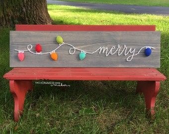 MADE TO ORDER Christmas Light Script Merry String Art Board