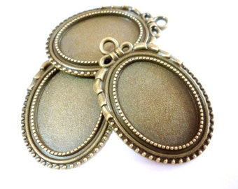 Brass Oval Cameo_CPANT0755307B/G_Pack 10 pcs_Oval Cameo and Glass Cabochon_ OF 18X25 MM