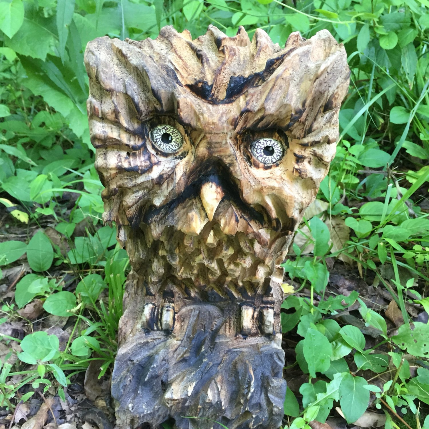 Owl wood carving chainsaw sculpture hand carved