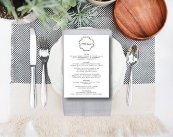INSTANT DOWNLOAD wedding menu / instant download wedding menu / editable wedding menu / laurel wreath wedding menu
