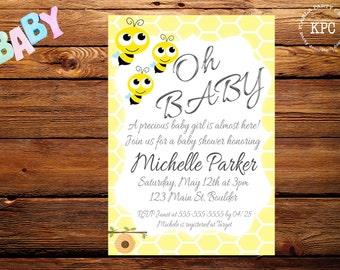 SALE!!! Bee baby shower invitation. Bee baby shower invite. Bee baby shower. Bee baby shower decorations. Bee birthday invitation. Bee first