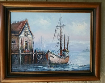 Vintage Impressionism Midcentury Modern Original Oil on Canvas Painting Nautical Ship or Sailing Boat Dock Harbour Scenery Signed Albert