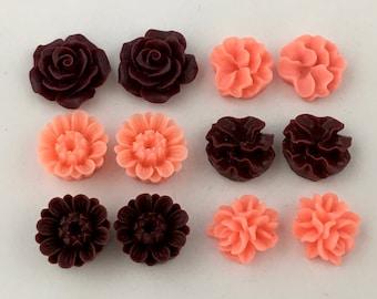 12 pcs resin cabochon flowers ,assorted sizes,#FL052
