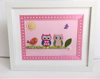 Little Pink Owl Framed Room Decor, Nursery Pink Owl, Owl Girl Decorated,Decor Pink Owl, Colorful Owl.
