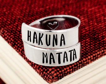 Hakuna Matata Ring - Adjustable Aluminum Wrap Ring - Twist Ring - Heart Ring - Silver Ring