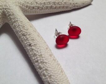 Red sea glass stud earrings
