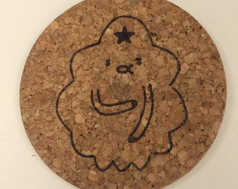Hand burned lumpy space princess cork adventure time coaster