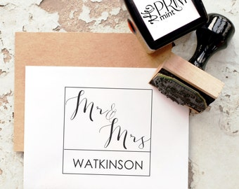 Mr and Mrs Stamp, Wedding Stamp, Address Stamp, Wedding Invitation Stamp, Custom Stamp Wedding, Wedding Stamps,  Monogram Stamp 10027