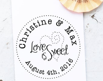 Love is Sweet Stamp, Wedding Stamp, Save the Date Stamp,  Wedding Invitation Stamp, Custom Wedding  Stamps, Wedding Monogram Stamp 10187