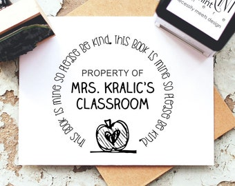Teacher Stamp - Custom Book Self-inking Stamp- From The Classroom Of Stamp-  Unique Teacher Book Stamp- Personalized Rubber Stamp-  10231