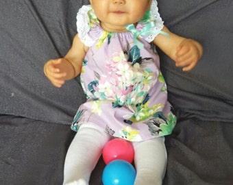 Pretty Lilac Floral Spring Fling Flutter Sleeve Dress