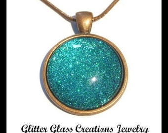 Vibrant round glass pendant & chain - 5 options to choose from