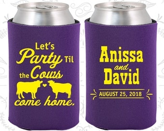 Let's Party till the Cows come Home (C222) Personalized Gifts, Cows, Wedding Can Coolers