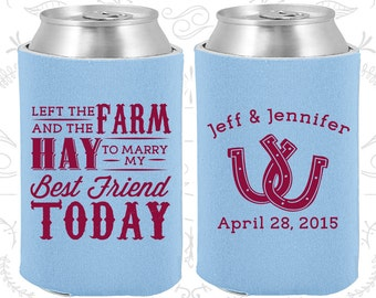 Left the Farm and the Hay to marry my best friend today, Personalized Wedding Gift, Farm Wedding Gift, Horseshoe Wedding Gift (557)