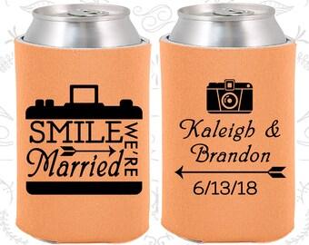 Peach Wedding, Can Coolers, Peach Wedding Favors, Peach Wedding Gift, Peach Wedding Decor (361)