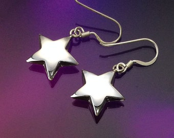 925 Solid Sterling Silver STAR Earrings-Dangle Earrings-Polished-