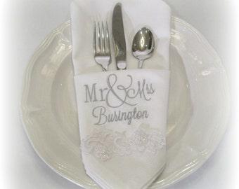 Monogrammed Napkin, Mr & Mrs Napkin, SET OF TWO, Personalized Napkin, Monogram Cloth Napkin, Wedding Napkin, Custom Monogrammed Napkin