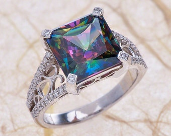 mystic topaz engagement ring in 14k white gold 7x7mm natural cushion mystic topaz engagement ring - Topaz Wedding Ring