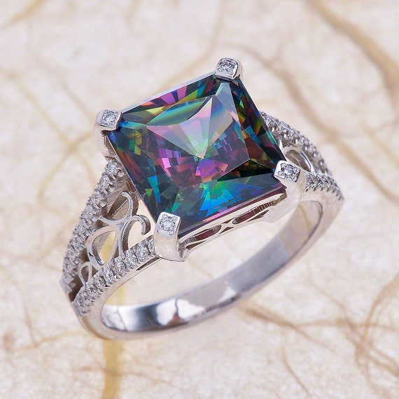 Mystic Topaz Engagement Ring In 14k White Gold 7x7mm Natural
