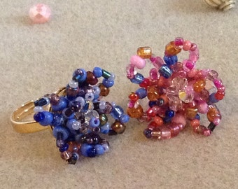 Swarovski and bead floral ring