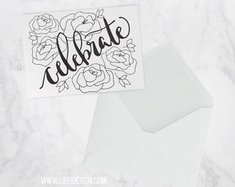 Wedding card or special occasion to help you celebrate, floral, calligraphy,  blank inside, single or pack of 3