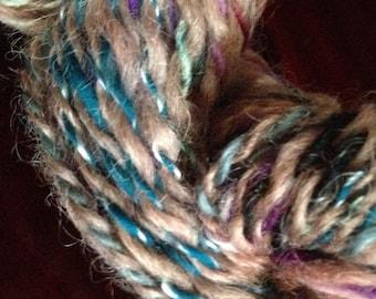 Arty Yarn with Silk-  Alpaca, Silk and Merino Yarn Hand Spun 8-10ply DK